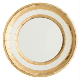 10 Assiettes en carton blanc et or métallisé