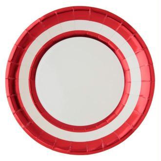 10 Assiettes en carton ronds rouge métallisé