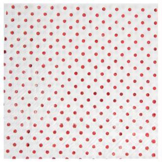 20 Serviettes papier à pois métallisés rouge