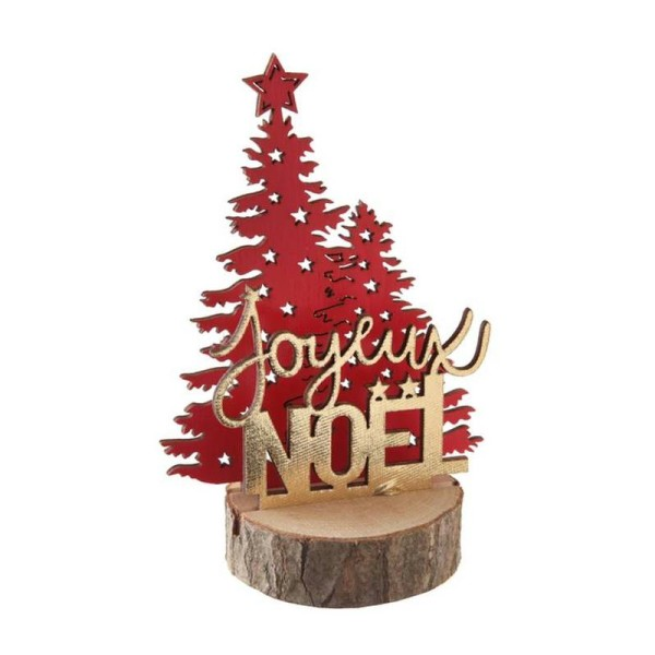 Décor Joyeux Noël rouge et or métallisé sur rondin de bois