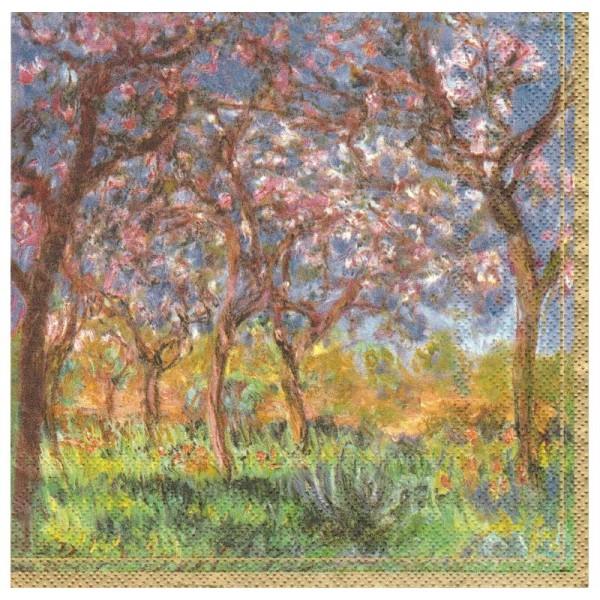 4 Serviettes en papier Peintre Monet Printemps à Giverny Format Lunch - Photo n°1
