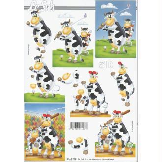 Feuille 3D à découper A4 Vache Sportive