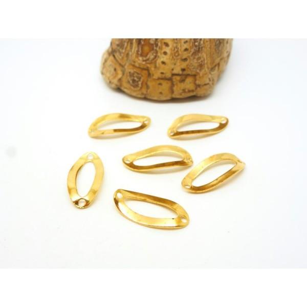 10 Connecteurs fins forme ovale - 17.5*8mm -  laiton doré - Photo n°1