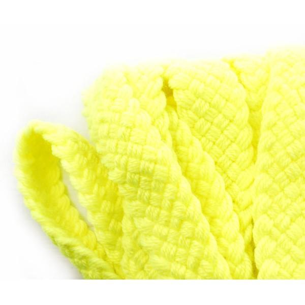 1yrd 0,9 m Jaune Néon UV Faux Laine Acrylique Ruban Tissu à Plat Cordon Macrame Bobo Bracelet Collie - Photo n°1