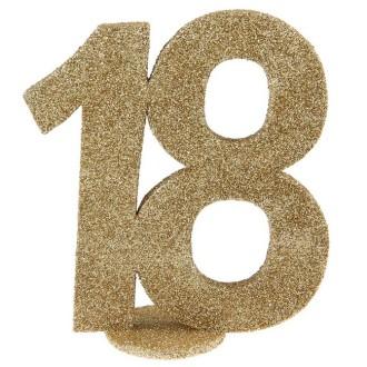 Déco anniversaire chiffre 18 pailleté or