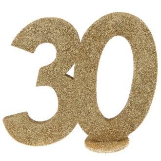Déco anniversaire chiffre 30 pailleté or