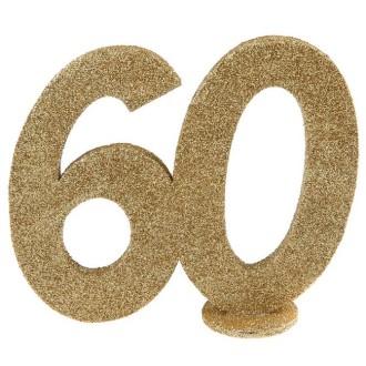 Déco anniversaire chiffre 60 pailleté or