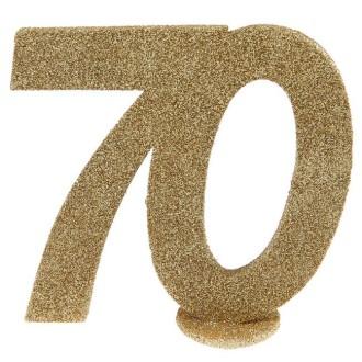 Déco anniversaire chiffre 70 pailleté or