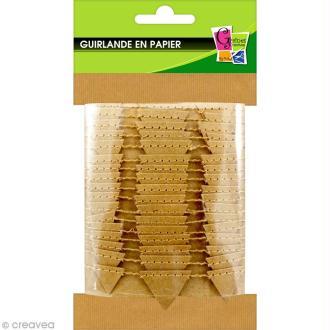 Guirlande Fanions kraft en papier à décorer - 2,70 m