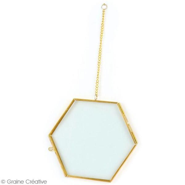 Cadre herbier Hexagonal en métal à suspendre - 13 x 18 cm - Photo n°2