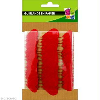 Guirlande Coeurs rouges en papier à décorer - 2,70 m