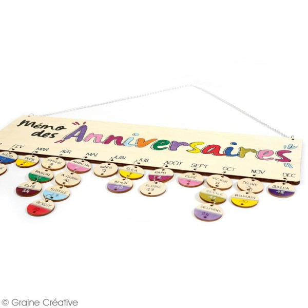 Calendrier perpétuel anniversaire en bois à décorer - 42 x 12 cm - Photo n°2
