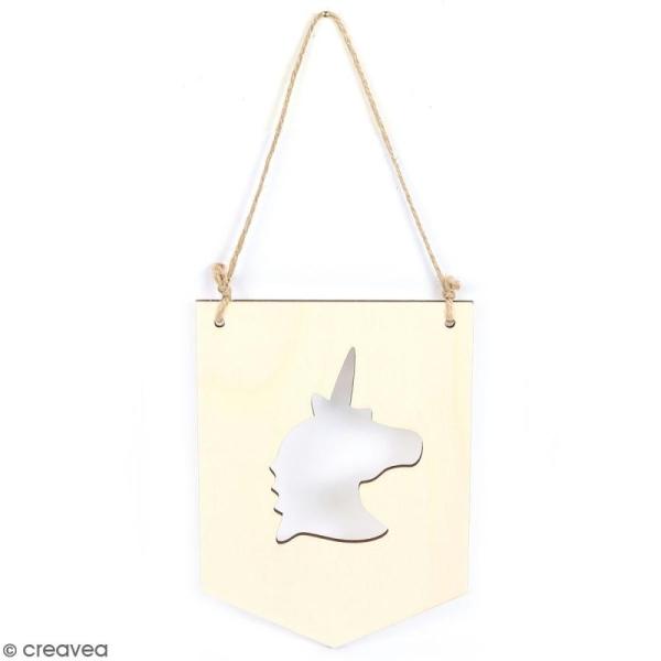 Fanion en bois à décorer - Licorne - 15 x 20 cm - Photo n°1