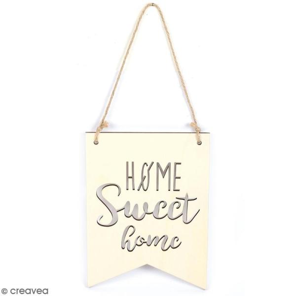 Fanion en bois à décorer - Home Sweet Home - 15 x 20 cm - Photo n°1