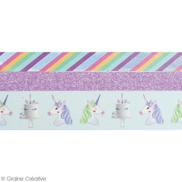 Set de masking tape - Licorne - 1 cm et 2 cm - 3 pcs - Photo n°2