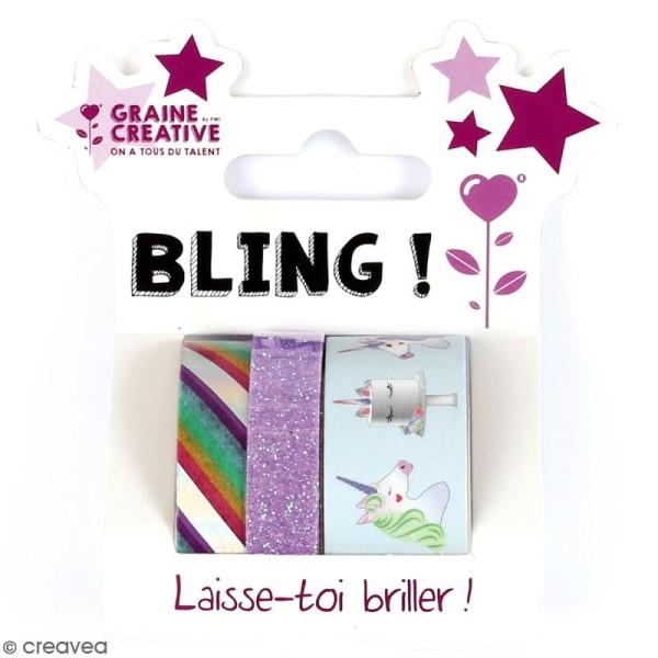 Set de masking tape - Licorne - 1 cm et 2 cm - 3 pcs - Photo n°1