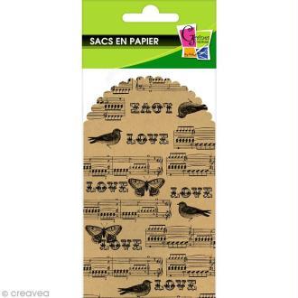 Pochette en papier 23,5 x 13 cm - Kraft motif musique - 6 pcs