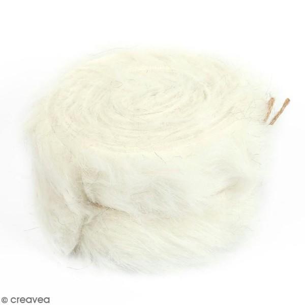 Rouleau de tissu fausse fourrure - Blanc - 6 cm x 2 m - Photo n°1