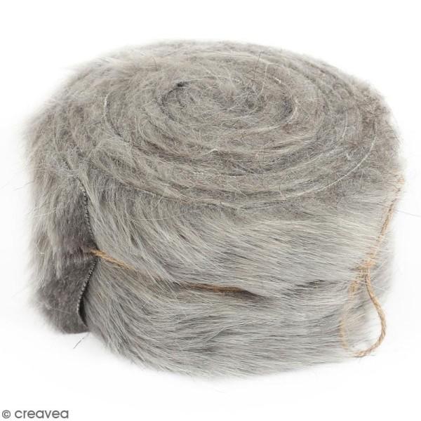 Rouleau de tissu fausse fourrure - Gris - 6 cm x 2 m - Photo n°1