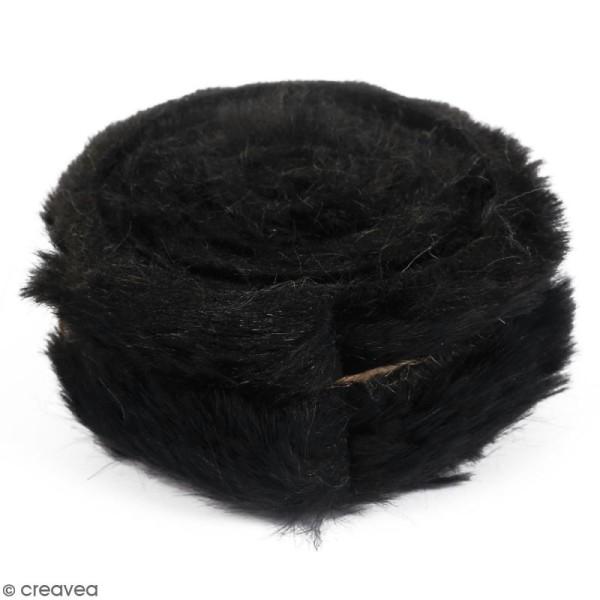 Rouleau de tissu fausse fourrure - Noir - 6 cm x 2 m - Photo n°1
