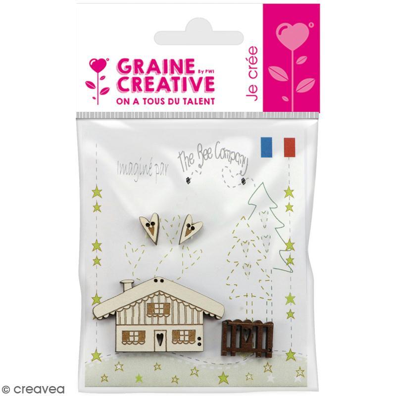 Assortiment de boutons en bois décoratifs - Petit chalet à la montagne - 4 pcs - Photo n°1
