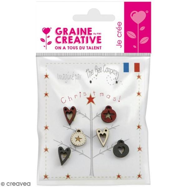 Assortiment de boutons en bois décoratifs - Décorations de sapin - 6 pcs - Photo n°1