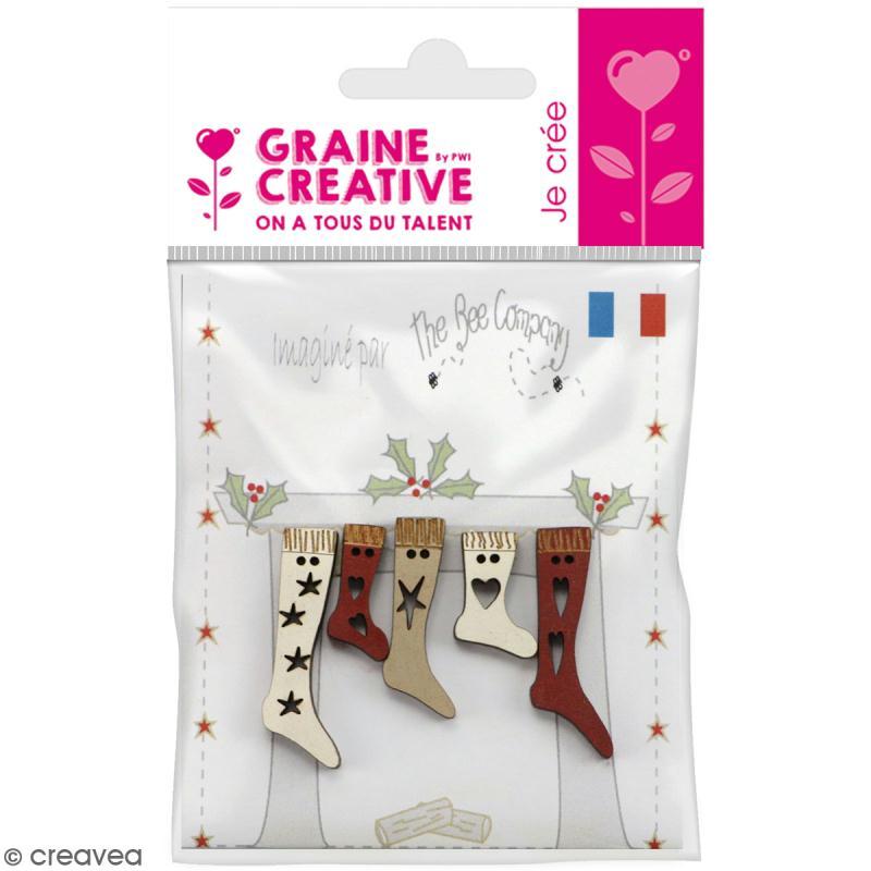 Assortiment de boutons en bois décoratifs - Chaussettes de Noël - 5 pcs - Photo n°1