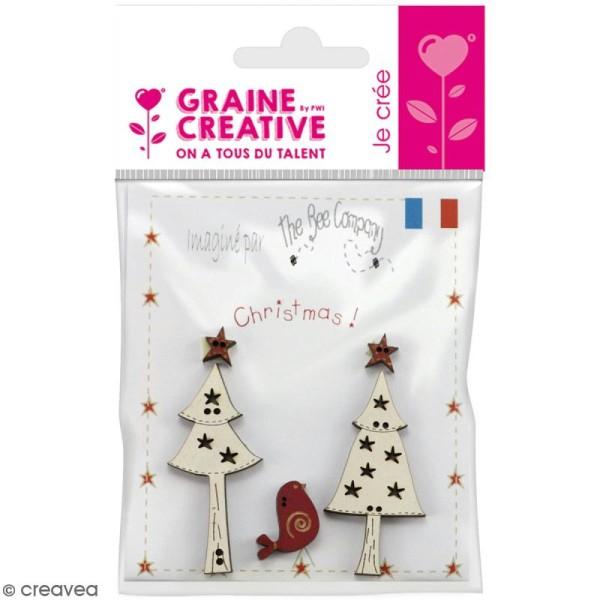 Assortiment de boutons en bois décoratifs - Sapins et étoiles - 4 pcs - Photo n°1