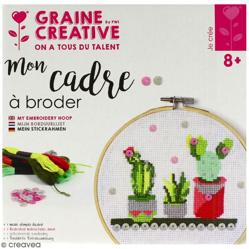 Kit tambour à broder Graine Créative - Cactus - 15,5 cm - Photo n°1