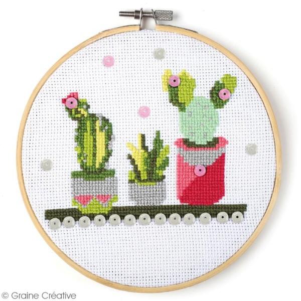 Kit tambour à broder Graine Créative - Cactus - 15,5 cm - Photo n°2