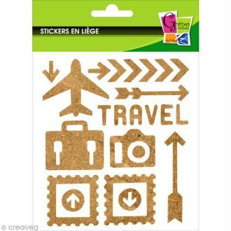 Stickers en liège - Voyage - 23 pcs
