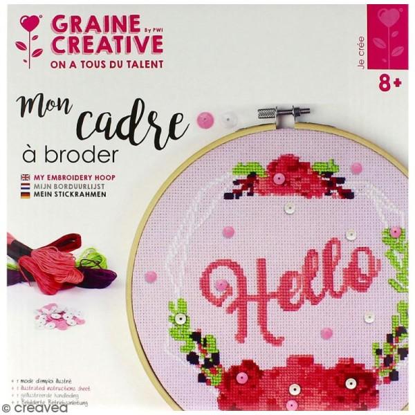Kit tambour à broder Graine Créative - Hello - 20 cm - Photo n°1