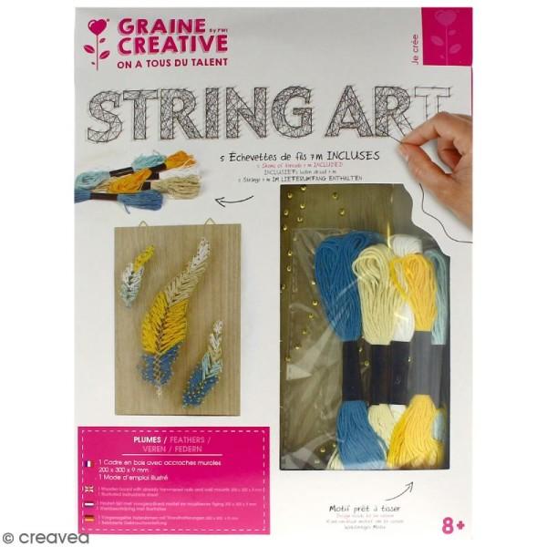 Kit tableau string art - Plumes - 20 x 30 cm - Photo n°1