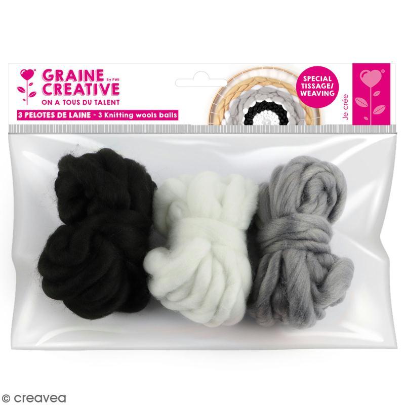 Assortiment pelotes de laine XL - Blanc, gris, noir - 3 pcs - Photo n°1