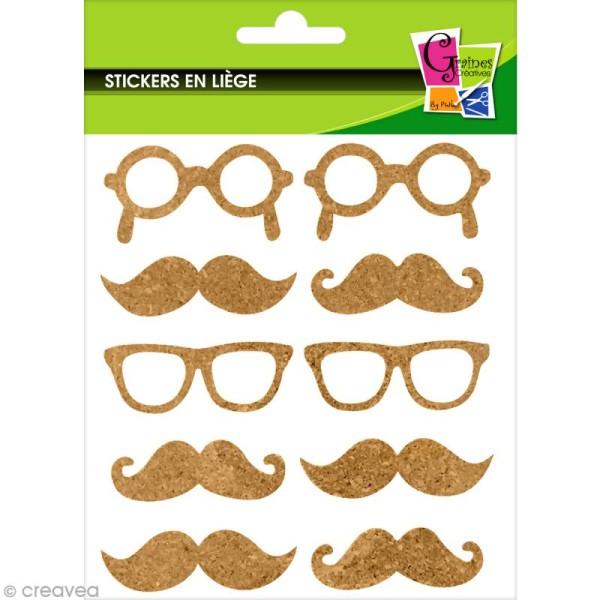 Stickers en liège - Moustaches et lunettes - 10 pcs - Photo n°1