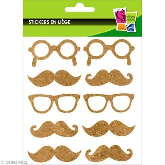 Stickers en liège - Moustaches et lunettes - 10 pcs