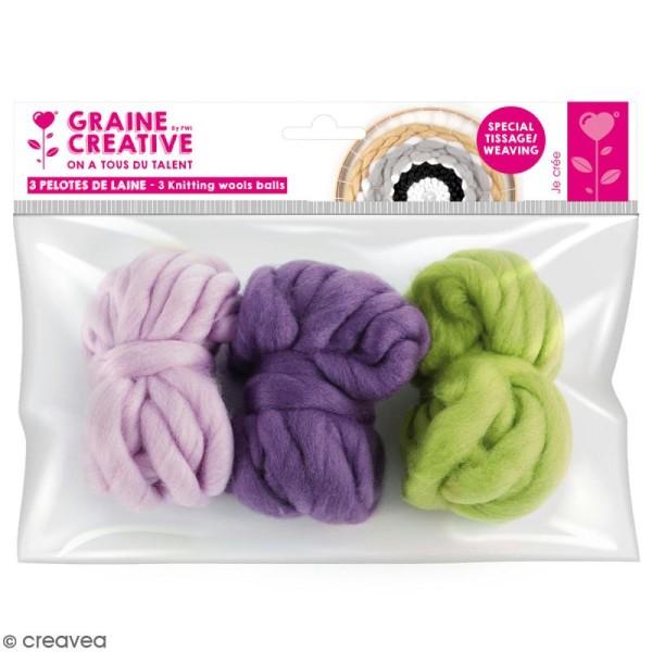 Assortiment pelotes de laine XL - Kaki, violet, mauve - 3 pcs - Photo n°1