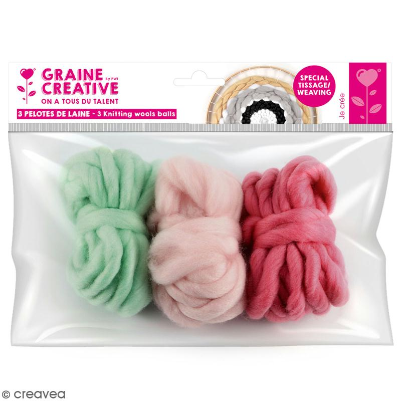 Assortiment pelotes de laine XL - Menthe, rose pâle, vieux rose - 3 pcs - Photo n°1