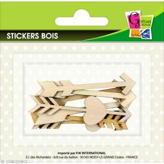 Stickers en bois - Flèches fines - 8 pcs