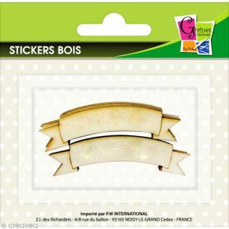 Stickers en bois - Bannières - 8 pcs