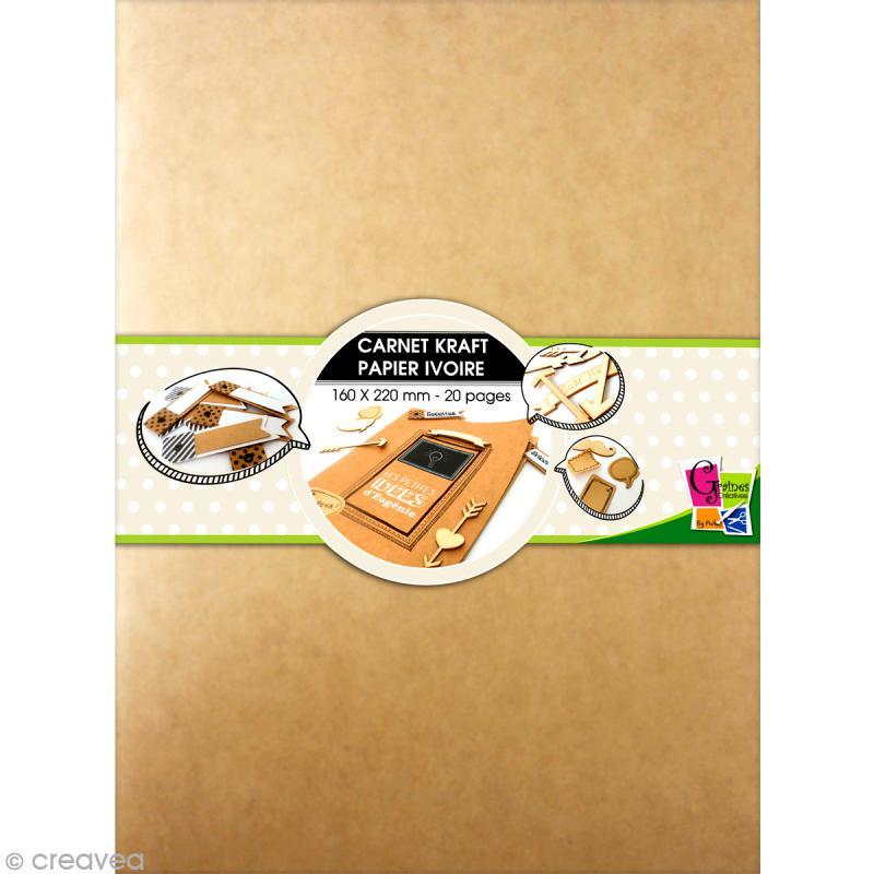 Carnet kraft 16 x 22 cm - 20 pages ivoire - Photo n°1