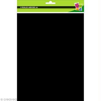 Papier ardoise noir A4 - 3 feuilles