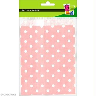 Sachet cadeau papier 19 x 13 cm - Rose à pois blancs - 12 pochettes
