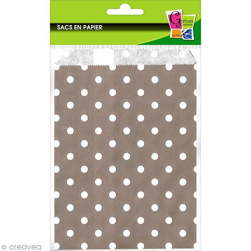 sachet cadeau papier 19 x 13 cm gris pois blancs 12 pochettes sac en kraft creavea. Black Bedroom Furniture Sets. Home Design Ideas
