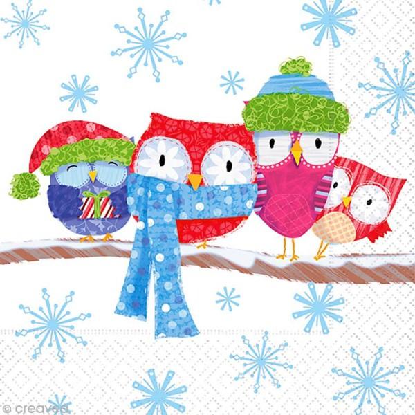Serviette en papier Noël - Hiboux flocon - Photo n°1