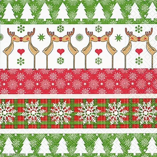 Serviette en papier Noël - Rennes amoureux - Photo n°1