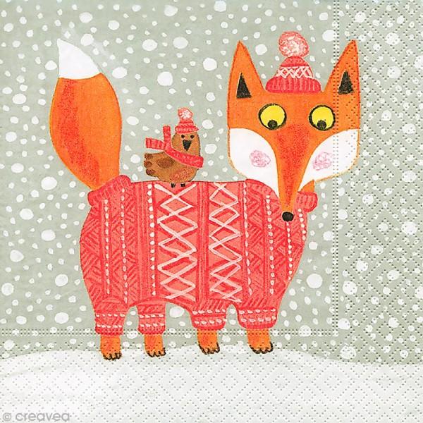 Serviette en papier Noël - Renard d'hiver - Photo n°1