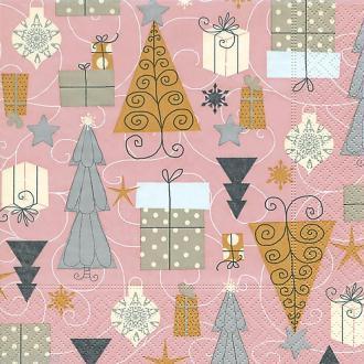 Serviette en papier Noël - Sapins et cadeaux
