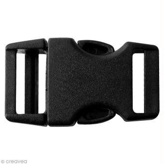 Fermoir à clip plastique noir - 15 mm - 10 pcs
