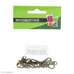 Fermoir mousqueton Bronze - 2,3 x 1,6 cm - 10 pcs